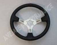 AVENUE STEERING WHEEL - Black Leather Aluminum Brushed Spokes