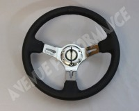 AVENUE STEERING WHEEL - Black Leather Chrome Spokes
